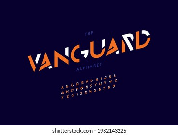 Vector of stylized vanguard alphabet and font