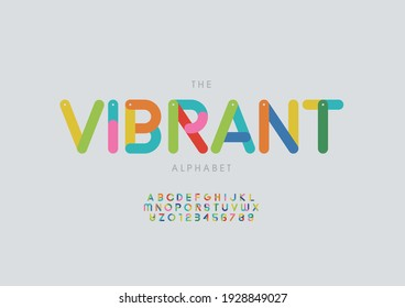 Vector of stylized vibrant alphabet and font