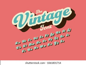 Vector of stylized vintage font and alphabet