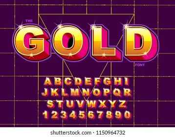 Vector of stylized vintage font and alphabet. 80's retro font. Vector typography for flyers, posters.Gold Effect shiny letters. 80s metallic style, vintage metal. Retro Futurism Sci-Fi.