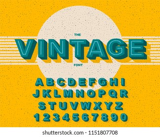 Vector of stylized vintage font and alphabet. Vintage Alphabet vector 80's, 90's Old style graphic set. Retro Chiseled Alphabet Vector Font. Type letters, numbers. Chiseled block letters