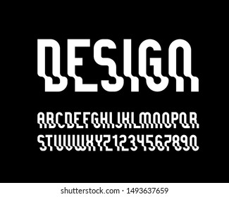 vector of stylized  wavy font and alphabet with effect of transparency