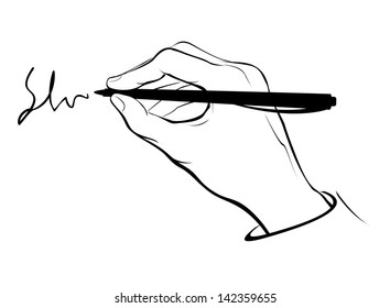 Vector stylized writing hand