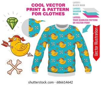 Vector sublimation print for printing on clothes. Illustration for print on tshirt, sweatshirt, shirt, sweater, cardigan, pullover, bag, leggings, souvenirs, tablecloth, socks. Online constructor