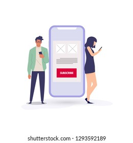 Vector subscription business model concept in flat style - mobile phone with button subscribe - app or service available on monthly subscription basis - Vector