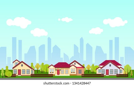 Vector suburban or country house real estate exterior flat style. Eco farm, gest house for rent. Flat rural cottage.
