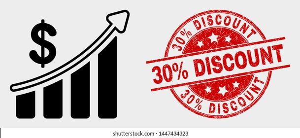 Vector success financial chart icon and 30% Discount seal stamp. Red round textured stamp with 30% Discount caption. Vector combination for success financial chart in flat style.