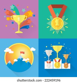 Vector success and win concepts. Modern vector icons and illustrations in flat style