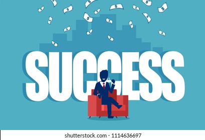 Vector of a successful businesman sitting in a red armchair under money rain with a skyline background