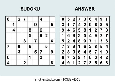 Vector sudoku with answer 124. Puzzle game with numbers.