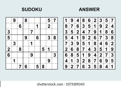 Vector sudoku with answer 138. Puzzle game with numbers.