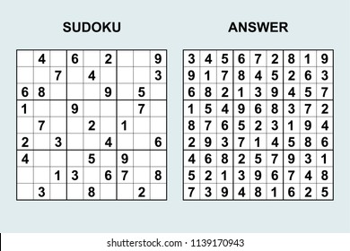 Vector sudoku with answer 152. Puzzle game with numbers.