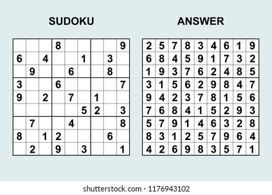 Vector sudoku with answer 171. Puzzle game with numbers.