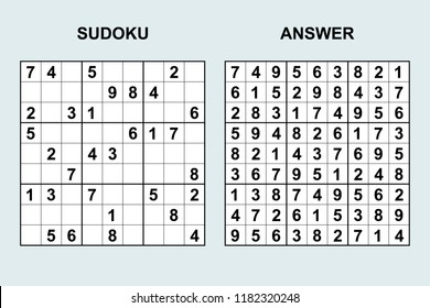 Vector sudoku with answer 176. Puzzle game with numbers.