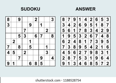 Vector sudoku with answer 189. Puzzle game with numbers.