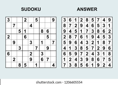 Vector sudoku with answer 205. Puzzle game with numbers.