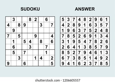 Vector sudoku with answer 206. Puzzle game with numbers.