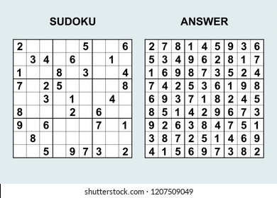 Vector sudoku with answer 210. Puzzle game with numbers.