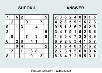 Vector Sudoku Answer 41 Puzzle Game Stock Vector Royalty Free