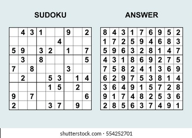 Vector sudoku with answer 39. Puzzle game with numbers.