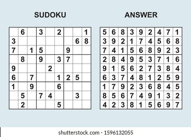 Vector sudoku with answer 395. Puzzle game with numbers.