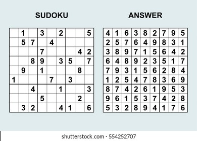 Vector sudoku with answer 40. Puzzle game with numbers.