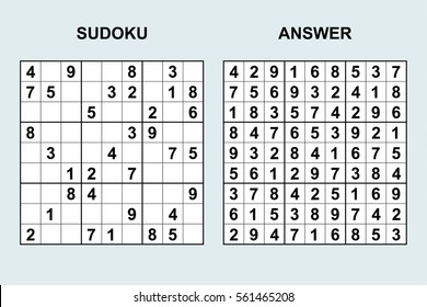 Vector sudoku with answer 41. Puzzle game with numbers.