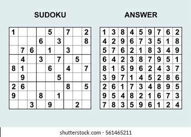 Vector sudoku with answer 42. Puzzle game with numbers.