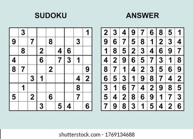 Vector sudoku with answer 433. Puzzle game with numbers.