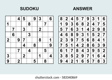 Vector sudoku with answer 45. Puzzle game with numbers.