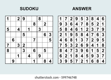 Vector sudoku with answer 47. Puzzle game with numbers.