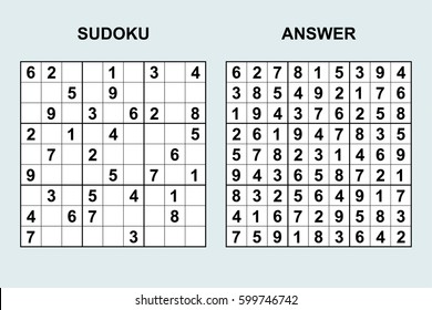 Vector sudoku with answer 48. Puzzle game with numbers.
