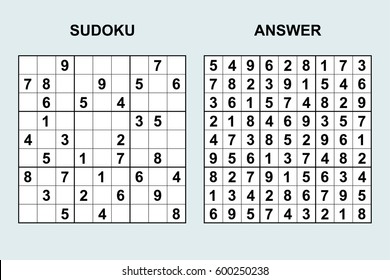 Vector sudoku with answer 49. Puzzle game with numbers.