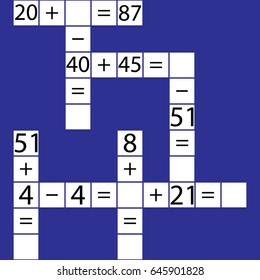 Vector sudoku with answer 56. Puzzle game with numbers.