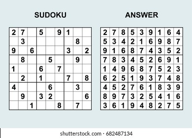 Vector sudoku with answer 78. Puzzle game with numbers.
