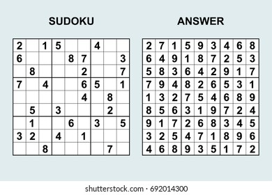 Vector sudoku with answer 86. Puzzle game with numbers.