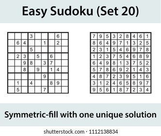 Vector Sudoku puzzle with solution - easy level