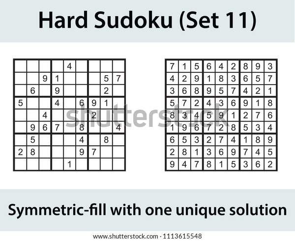 Vector Sudoku Puzzle Solution Hard Level Stock Vector