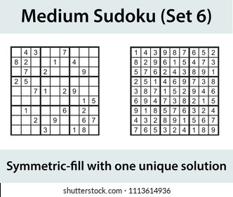 Vector Sudoku puzzle with solution - medium level