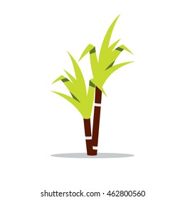 Vector Sugar cane Cartoon Illustration. Perennial herbaceous tropical plant. Unusual Logo template isolated on a white background