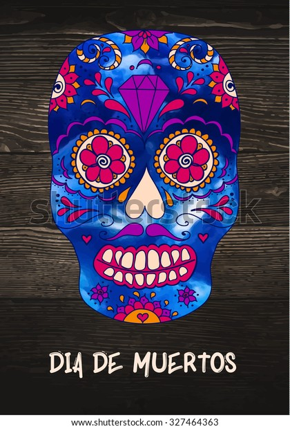 Vector Sugar Skull On Wooden Background Stock Vector Royalty Free