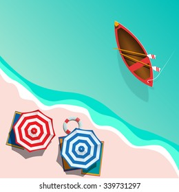 Vector Summer Background with boat