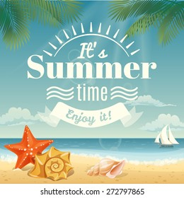 Vector summer background with summer elements