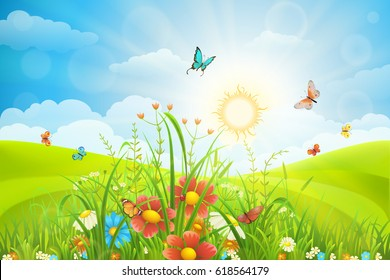 Vector summer background with green grass, flowers and butterflies