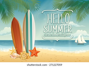 Vector summer background with surf boards and lettering