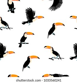 Vector summer background. Toucans . Summer print, paper or textile design. Element of seamless pattern.