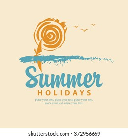 vector summer banner with sea, sun and surfer