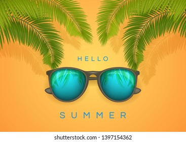 Vector Summer banner with text Hello Summer and palm branch Happy bright concept in yellow background for Summer Season. Stock Illustration