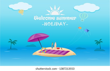 Vector of summer beach activity concept, welcome to holiday summ