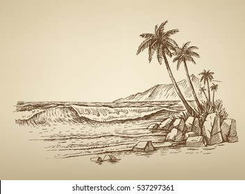 vector summer beach with palm trees illustration
